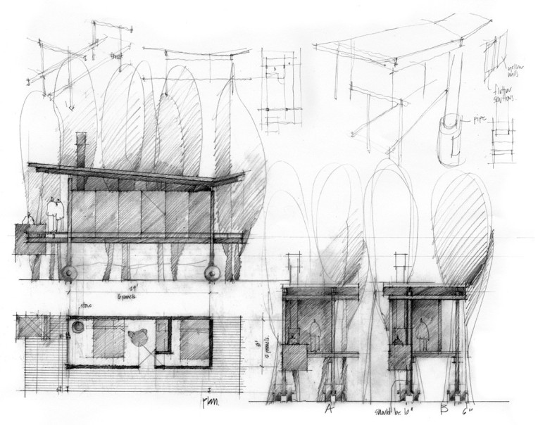 Rolling Huts by Olson Kundig sketches